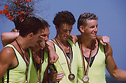 .Barcelona Olympic Games 1992.Olympic Regatta - Lake Banyoles.AUS M4-.'Oarsome foursome'.Andrew Cooper, Michael Scott, Nic Green and James Tomkins .Awards Cock with Gold medals..       {Mandatory Credit: © Peter Spurrier/Intersport Images]..........       {Mandatory Credit: © Peter Spurrier/Intersport Images]..........       {Mandatory Credit: © Peter Spurrier/Intersport Images].........