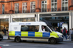 © Licensed to London News Pictures. 30/11/2019. London, UK.Police van patrols Oxford Street amid heightened security following the London Bridge terror attack on Friday 29 November 2019. Photo credit: Dinendra Haria/LNP