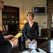 WASHINGTON, DC - MAY15: Deputy Attorney General Sally Yates, talks with Matthew Axelrod, the principal associate deputy attorney general, in her office at the Justice Department, May 15, 2015, in Washington, DC.  Yates, who was confirmed by the Senate yesterday, is a former career prosecutor from Atlanta. (Photo by Evelyn Hockstein/For The Washington Post)