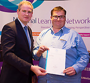 Sean Kyne TD Minister of State for Community Affairs, Natural Resources and Digital Development, presenting certification  in Employer Based Training  to Brian Donnelly  QQI level 4 in IT skills  workplace safety . Photo:Andrew Downes, xposure .