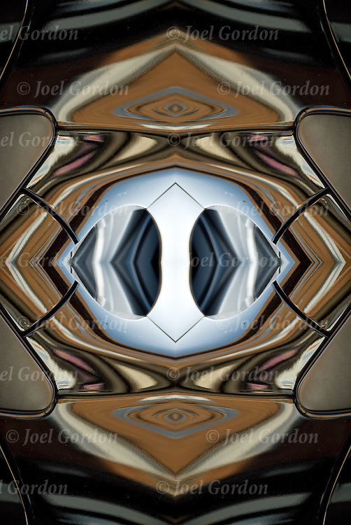 Mirror images of abstract reflective patterns to create Kaleidoscope effect. <br /> <br /> Image rotated and flipped horizontal then combined to form new image. Abstract reflections patterns off the surface of an automobile creating ripples of shapes and curves and waves.