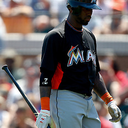 March 26, 2012; Lakeland, FL, USA; Miami Marlins shortstop Jose Reyes (7) reacts after striking out during the top of the first inning of a spring training game against the Detroit Tigers at Joker Marchant Stadium. Mandatory Credit: Derick E. Hingle-US PRESSWIRE