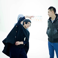 BEIJING, NOVEMBER-17 :  upcoming artist Yangzi Ren (L)  at the White Cube Gallery in Beijing during the opening of her first big show.