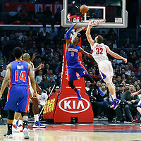 07 November 2016: Detroit Pistons guard Kentavious Caldwell-Pope (5) goes for the reverse layup past Los Angeles Clippers forward Blake Griffin (32) during the LA Clippers 114-82 victory over the Detroit Pistons, at the Staples Center, Los Angeles, California, USA.