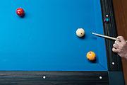 Bob Keller lines up a shot at Three Cushion Billiards in Madison, WI on Friday, May 10, 2019.