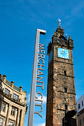 View of Merchant City Clocktower at Trongate in Glasgow, Scotland, UK