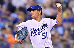 April 13, 2017 - Kansas City, MO, USA - Kansas City Royals starting pitcher Jason Vargas throws against the Oakland Athletics at Kauffman Stadium in Kansas City, Mo., on Thursday, April 13, 2017. (Credit Image: © John Sleezer/TNS via ZUMA Wire)