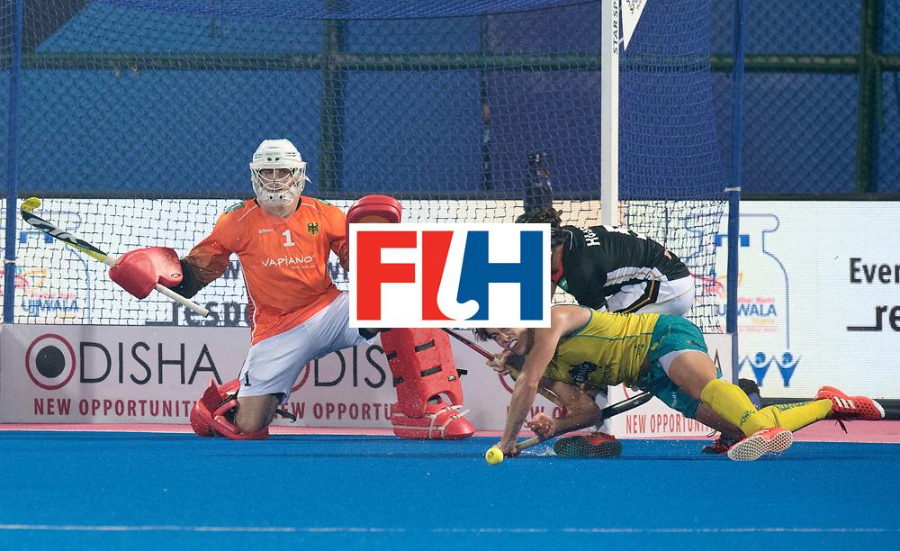 Odisha Men's Hockey World League Final Bhubaneswar 2017<br /> Match id:05<br /> 05 GER v AUS (Pool B)<br /> Foto:  Eddie Ockenden (Aus) stopped by keeper Mark Appel (Ger) <br /> WORLDSPORTPICS COPYRIGHT FRANK UIJLENBROEK