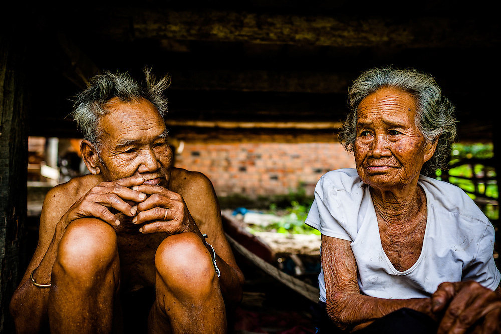 An elderly minority couple in Dak Lak, Vietnam.