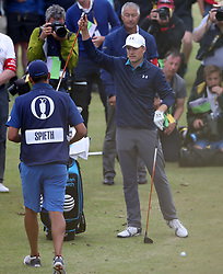 USA's Jordan Spieth repositions his ball on the driving range behind the 13th after hitting it into heavy rough during day four of The Open Championship 2017 at Royal Birkdale Golf Club, Southport.