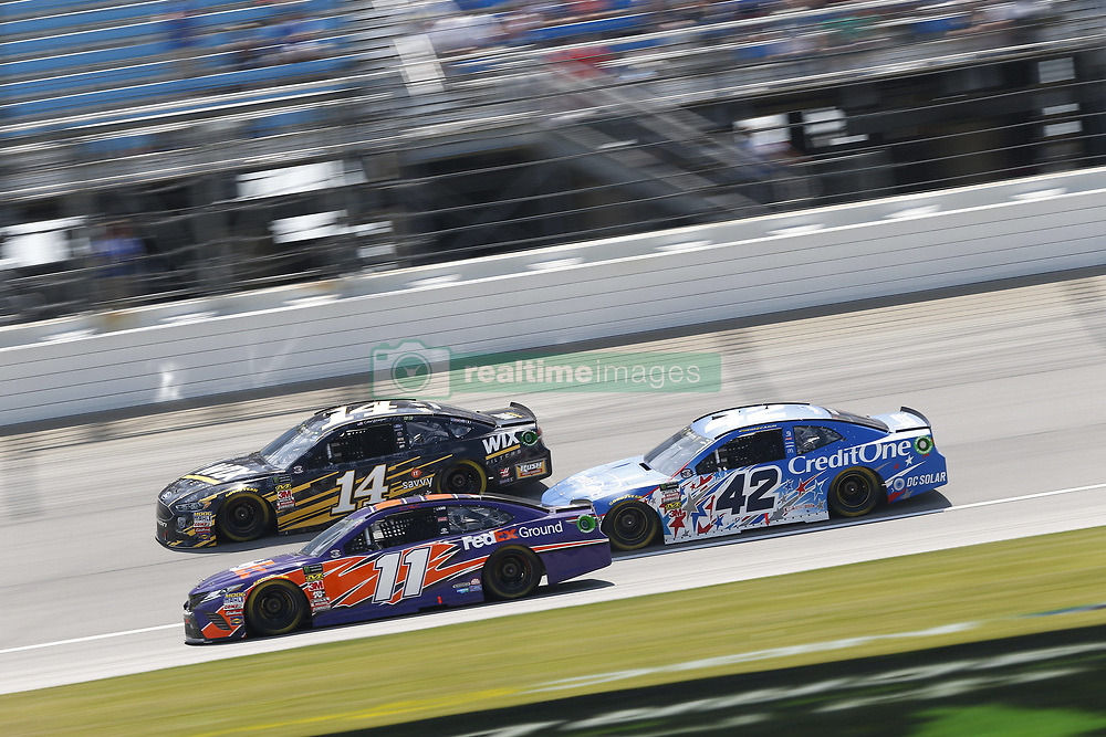 July 1, 2018 - Joliet, Illinois, United States of America - Denny Hamlin (11) battles for position during the Overton's 400 at Chicagoland Speedway in Joliet, Illinois  (Credit Image: © Justin R. Noe Asp Inc/ASP via ZUMA Wire)