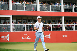 October 13, 2018 - Kuala Lumpur, Malaysia - Justin Thomas of the United States prepares to play his shot on the ninth tee during round three of the CIMB Classic at TPC Kuala Lumpur on 13 October, 2018 in Kuala Lumpur, Malaysia  (Credit Image: © Chris Jung/NurPhoto via ZUMA Press)