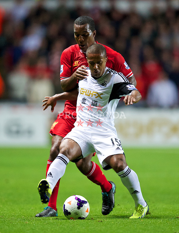 SWANSEA, WALES - Monday, September 16, 2013: Liverpool's Andre Wisdom in action against Swansea City's Wayne Routledge during the Premiership match at the Liberty Stadium. (Pic by David Rawcliffe/Propaganda)