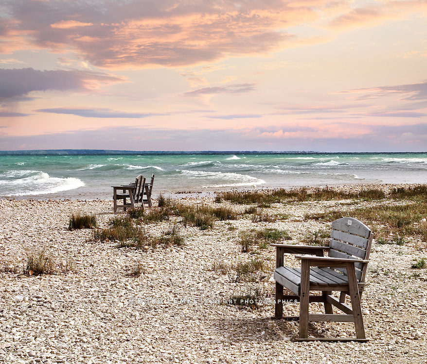 Chairs On The Beach Looking Out At The Mackinaw Straits And Lake Huron At Sunset The Straits Of Mackinac, Michigan, USA