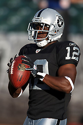 September 2, 2010; Oakland, CA, USA;  Oakland Raiders wide receiver Jacoby Ford (12) before the game against the Seattle Seahawks at Oakland-Alameda County Coliseum. Oakland defeated Seattle 27-24.