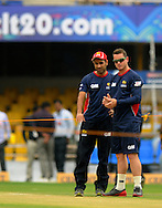 Imran Tahir of Highveld Lions and Jean Symes of Highveld Lions have a closer look at the pitch before the start of match 4 of the Karbonn Smart Champions League T20 (CLT20) 2013  between The Highveld Lions and the Perth Scorchers held at the Sardar Patel Stadium, Ahmedabad on the 23rd September 2013<br /> <br /> Photo by Pal PIllai-CLT20-SPORTZPICS  <br /> <br /> Use of this image is subject to the terms and conditions as outlined by the CLT20. These terms can be found by following this link:<br /> <br /> http://sportzpics.photoshelter.com/image/I0000NmDchxxGVv4