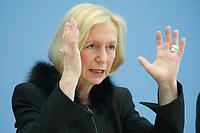 21 FEB 2013, BERLIN/GERMANY:<br /> Johanna Wanka, CDU, Bundesministerin fuer Bildung und Forschung, wahrend einer Pressekonferenz, Bundespressekonferenz<br /> IMAGE: 20130221-01-025