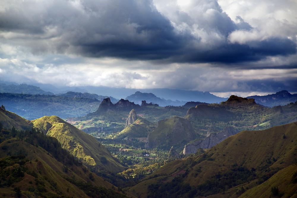 The view from Puncak Lakawan, near 'erotic mountain', West Sulawesi.