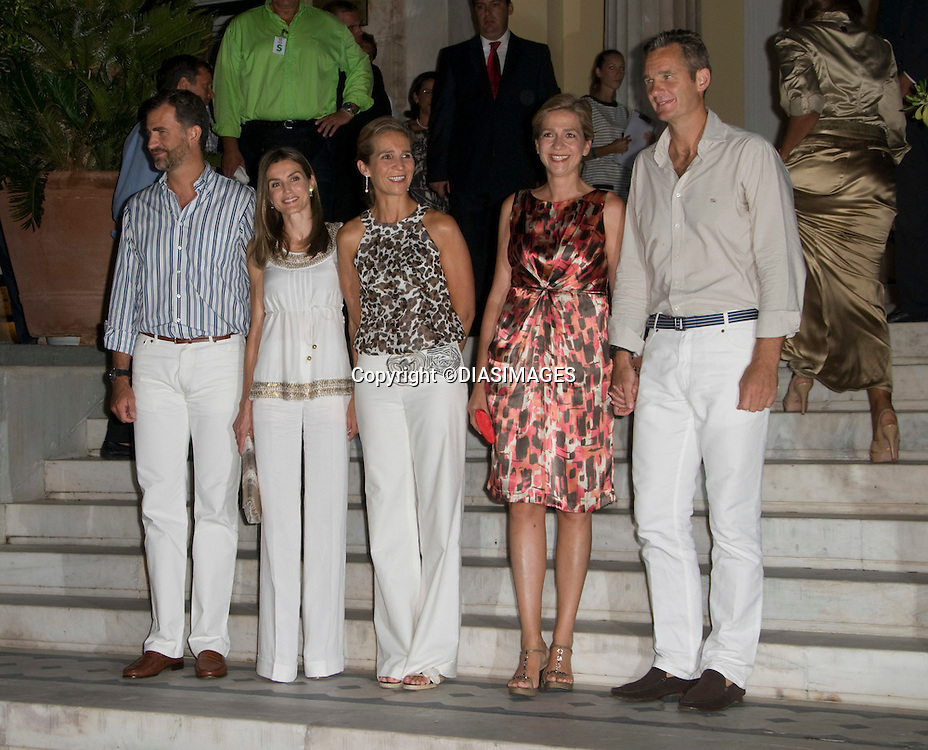 "CROWN PRINCE FELIPE AND CROWN PRINCESS LETIZIA, INFANTA ELENA, INFANTA CRISTINA AND HUSBAND INAKI URDAGARIN.at the cocktail party hosted by his parents King Constantine and  Queen Anne Marie at the Poseidonion Grace Hotel, Spetses_24/08/2010.Mandatory Credit Photo: ©DIASIMAGES..**ALL FEES PAYABLE TO: ""NEWSPIX INTERNATIONAL""**..IMMEDIATE CONFIRMATION OF USAGE REQUIRED:.Newspix International, 31 Chinnery Hill, Bishop's Stortford, ENGLAND CM23 3PS.Tel:+441279 324672; Fax: +441279656877.e-mail: info@newspixinternational.co.uk"