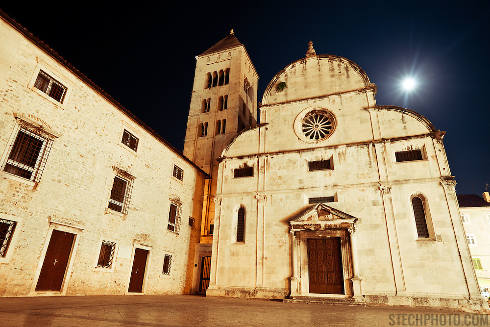 Just opposite Saint Donat in Zadar, Croatia, stands the Museum of Church on a moonlit summer evening.