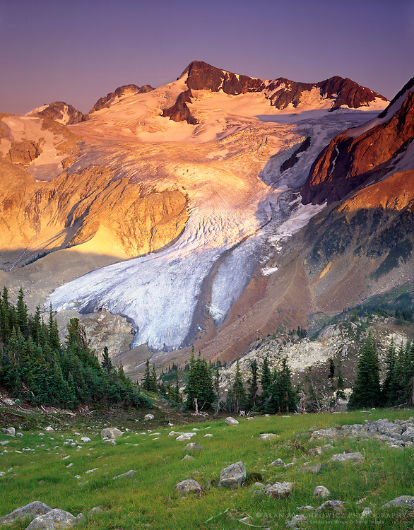 Overlord Mountain and Overlord Glacier in evening light, Fitzsimmons Range of Garibaldi Provincial Park British Columbia Canada