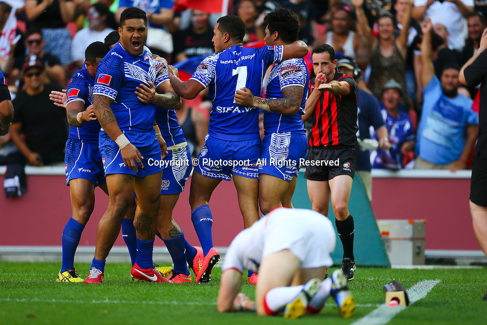 Samoan player's celebrates a try during the Four Nations test match between England and Samoa at Suncorp Stadium,  Brisbane Australia on October 18, 2014.