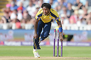 Fidel Edwards during the NatWest T20 Blast Semi Final match between Hampshire County Cricket Club and Lancashire County Cricket Club at Edgbaston, Birmingham, United Kingdom on 29 August 2015. Photo by David Vokes.