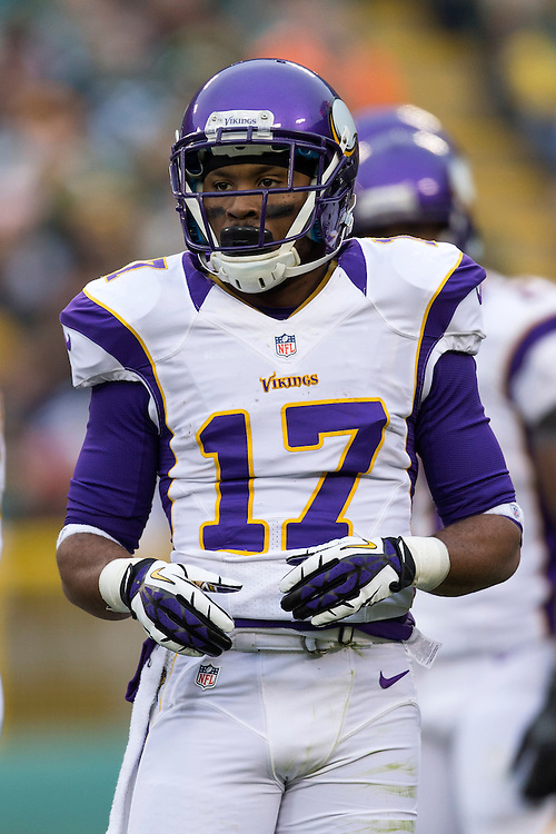 GREEN BAY, WI - DECEMBER 2:  Jarius Wright #17 of the Minnesota Vikings looks over to the sidelines during a game against the Green Bay Packers at Lambeau Field on December 2, 2012 in Green Bay, Wisconsin.  The Packers defeated the Vikings 23-14.  (Photo by Wesley Hitt/Getty Images) *** Local Caption *** Jarius Wright