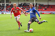 Bury's Danny Mayor crosses the ball during the Sky Bet League 1 match between Walsall and Bury at the Banks's Stadium, Walsall, England on 5 September 2015. Photo by Shane Healey.
