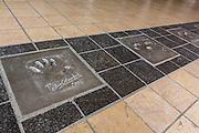 Empreintes des mains de Pedro Almodovar sur le sol à l'entrée du Palais des festivals de Cannes // Handprints of film maker Pedro Almodovar on floor in front of Palais des festival entrance.