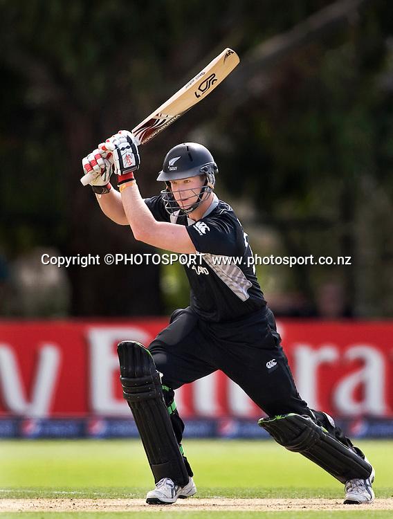 New Zealand's Jimmy Neesham during his innings. New Zealand v Zimbabwe, U19 Cricket World Cup group stage match, Bert Sutcliffe Oval, Lincoln, Tuesday 19 January 2010. Photo : Joseph Johnson/PHOTOSPORT