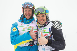 Peter Fill (R) and Andrej Jerman during last race of Andrej Jerman, Slovenian best downhill skier when he finished his professional alpine ski career on April 6, 2013 in Krvavec Ski resort, Slovenia. (Photo By Vid Ponikvar / Sportida)