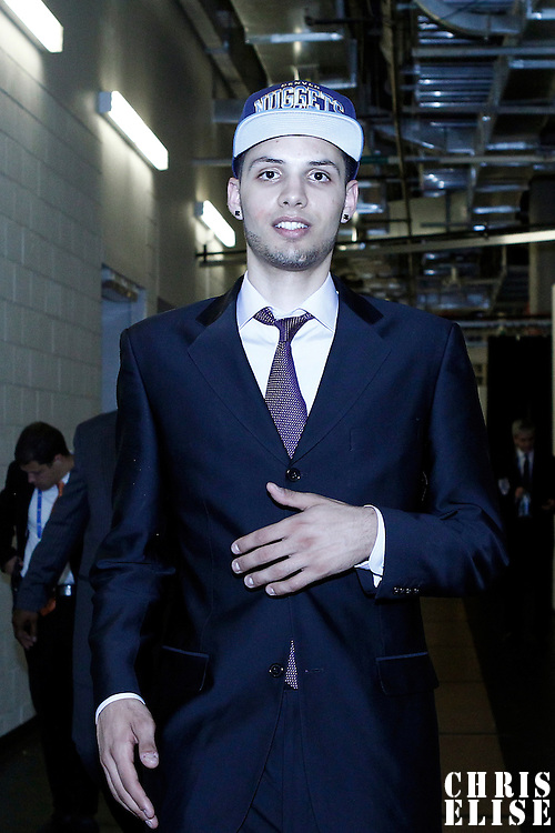28 June 2012: French player Evan Fournier, picked up by the Denver Nuggets, is seen during the 2012 NBA Draft, at the Prudential Center, Newark, New Jersey.