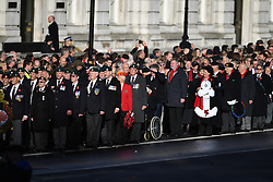 November 11, 2018 - London, London, United Kingdom - Remembrance Sunday and the Centenary of the Armistice. Queen Elizabeth II accompanied by members of the  Royal family including Prince Charles, Prince of Wales and Camilla, The Duchess of Cornwall,  Prince William, Duke of Cambridge and Catherine, The  Duchess of Cambridge,  Prince Harry, The Duke of Sussex and Meghan, The Duchess of Sussex , attend the Remembrance Sunday service at The Cenotaph in central London on  the Centenary of the end of the First World War. (Credit Image: © Andrew Parsons/i-Images via ZUMA Press)