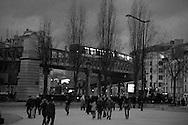 Paris; Jaures area , in 19th district, the elevated subway, Metro aerien a Jaures