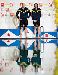 Emil Tahirovic and Anja Carman during swimming competition Dr.Fig Kranj 2013 on January 19, 2013 in Olympic pool, Kranj Slovenia. (Photo By Vid Ponikvar / Sportida)