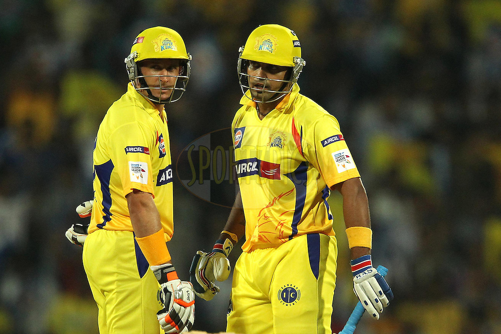 Miachael Hussey and Murali Vijay during match 3 of the NOKIA Champions League T20 ( CLT20 )between the Chennai Superkings and the Mumbai Indians held at the M. A. Chidambaram Stadium in Chennai , Tamil Nadu, India on the 24th September 2011..Photo by Ron Gaunt/BCCI/SPORTZPICS