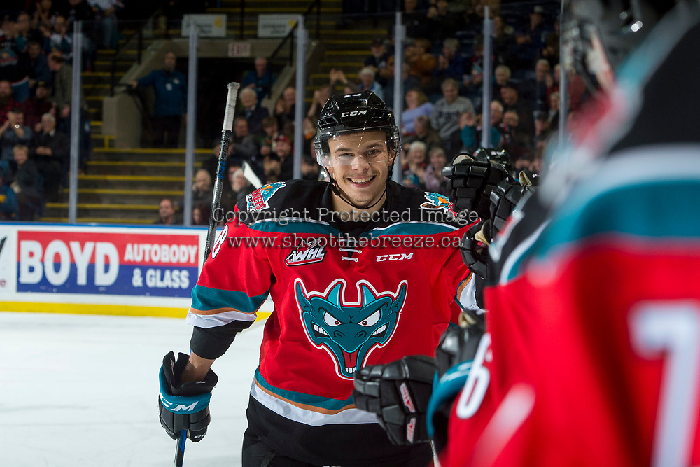 KELOWNA, CANADA - NOVEMBER 25: Carsen Twarynski #18 of the Kelowna Rockets celebrates a goal against the Medicine Hat Tigers on November 25, 2017 at Prospera Place in Kelowna, British Columbia, Canada.  (Photo by Marissa Baecker/Shoot the Breeze)  *** Local Caption ***