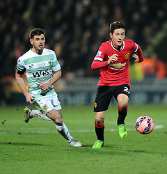 Manchester United's Ander Herrera escapes the attention of Yeovil Town's Joe Edwards  - Photo mandatory by-line: Joe meredith/JMP - Mobile: 07966 386802 - 04/01/2015 - SPORT - football - Yeovil - Huish Park - Yeovil Town v Manchester United - FA Cup - Third Round