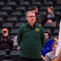 Regina Cougars Head Coach Greg Barthel in action during the Women's Volleyball Home Game vs U of C Dinos on October21 at the CKHS University of Regina. Credit Arthur Ward/©Arthur Images 2017