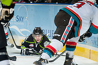 KELOWNA, CANADA -FEBRUARY 7: Edgars Kulda #23 of the Edmonton Oil Kings falls to the ice against the Kelowna Rockets on February 7, 2014 at Prospera Place in Kelowna, British Columbia, Canada.   (Photo by Marissa Baecker/Getty Images)  *** Local Caption *** Edgars Kulda;