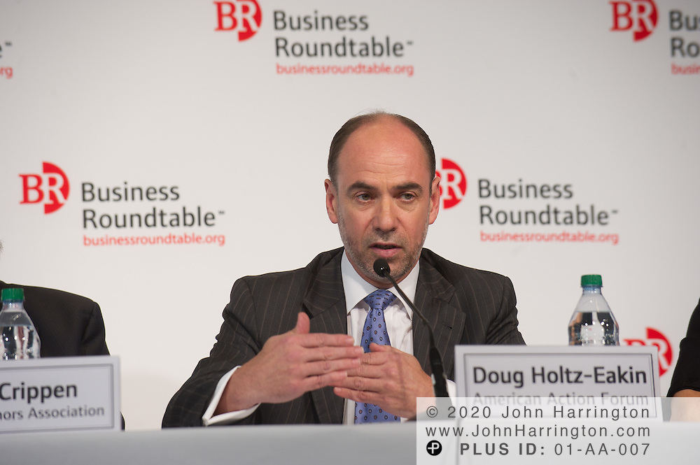"""Douglas Holtz-Eakin, President, American Action Forum speaks in a panel during the Business Roundtable """"Meeting the Challenges of Economic Growth and Deficit Reduction"""" discussion at the Newseum in Washington, DC on September 6th, 2011."""