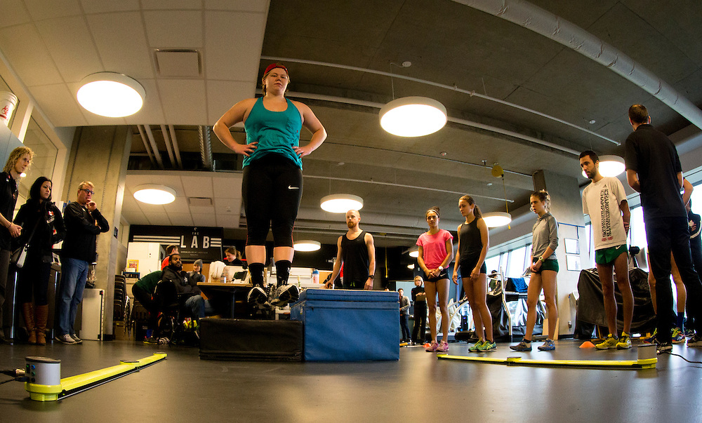 Brittany Crew's reactive strength index is tested with a drop jump to measure neuromuscular explosiveness and tendon stiffness at the Pacific Institute for Sport Excellence on December 3rd, 2015 in Victoria, British Columbia Canada.