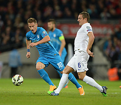Phil Jagielka of England (Everton) passes the ball.  - Photo mandatory by-line: Alex James/JMP - Mobile: 07966 386802 - 15/11/2014 - SPORT - Football - London - Wembley - England v Slovenia - EURO 2016 Qualifier