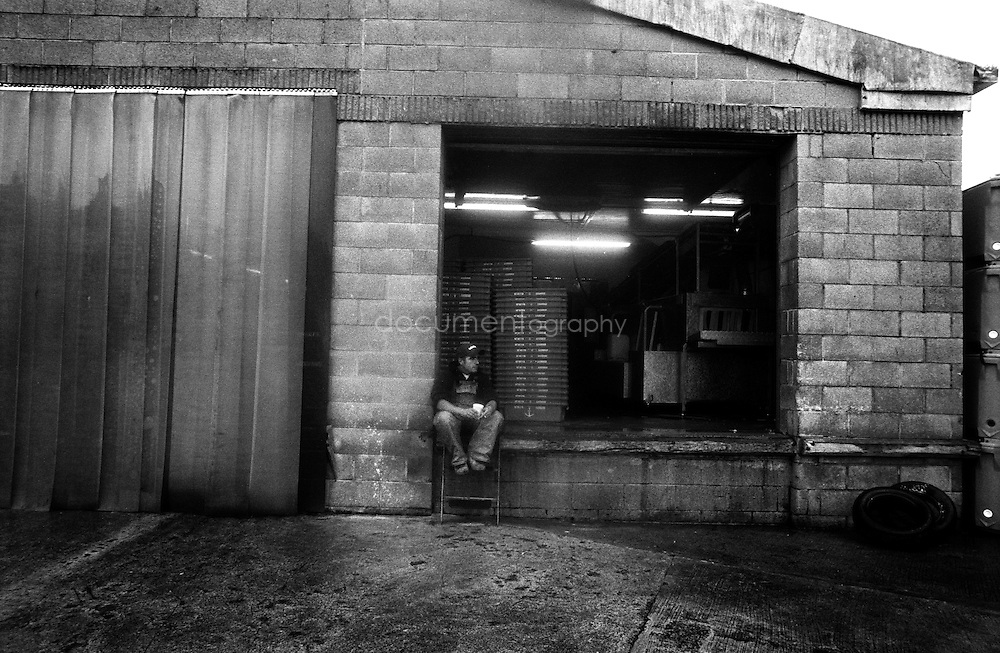A worker takes a break with a cup of tea at the fish sorting factory on Newlyn harbour.