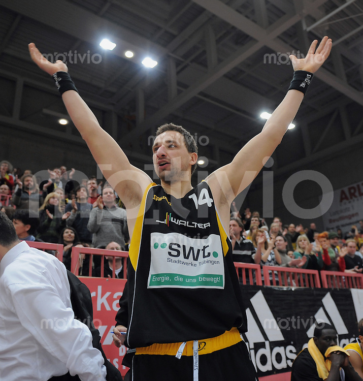 Basketball  1. Bundesliga  2008/2009  31.01.2008 Walter Tigers Tuebingen  -  Artland Dragons JUBEL Tigers, Punktbester  Rasko Katic