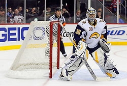 December 28, 2007; Newark, NJ, USA;  Buffalo Sabres goalie Ryan Miller (30) readies for action during the second period against the New Jersey Devils at the Prudential Center in Newark, NJ.