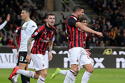 March 2, 2019 - Milan, Milan, Italy - Mateo Musacchio #22 of AC Milan celebrates after scoring the his goal during the serie A match between AC Milan and US Sassuolo at Stadio Giuseppe Meazza on March 02, 2019 in Milan, Italy. (Credit Image: © Giuseppe Cottini/NurPhoto via ZUMA Press)