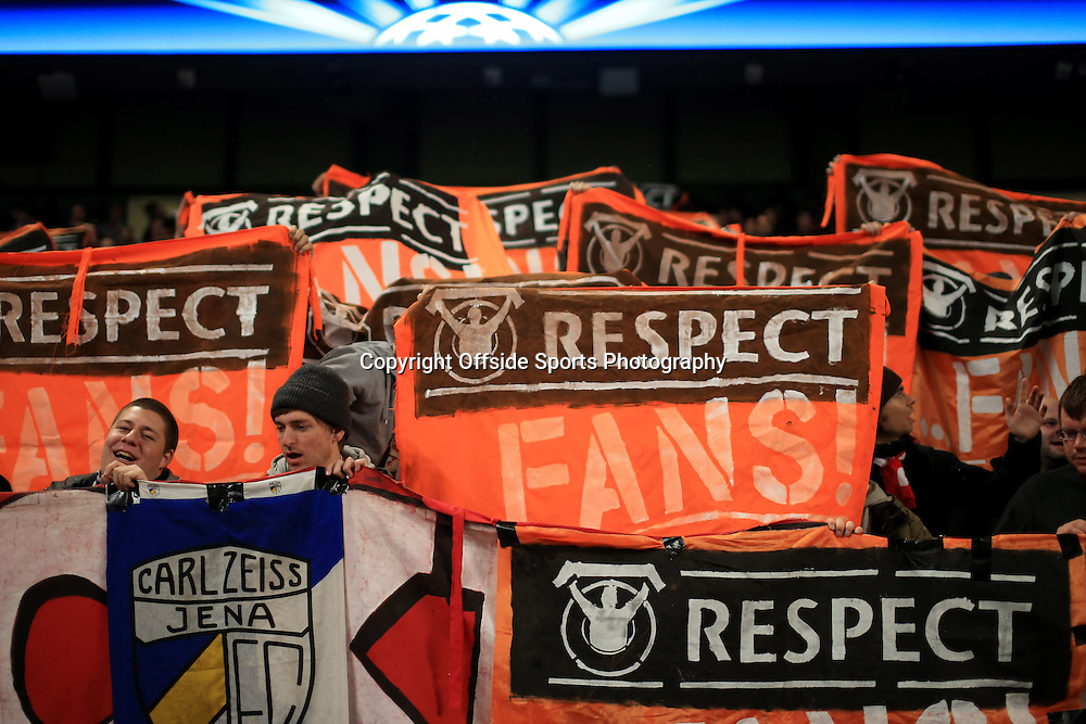 25th November 2014 - UEFA Champions League - Group E - Manchester City v Bayern Munich - Bayern fans hold up their 'Respect' banners - Photo: Simon Stacpoole / Offside.