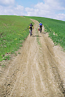 Two mountain bikers on dirt road through spring wheat fields outside Siena Tuscany Italy